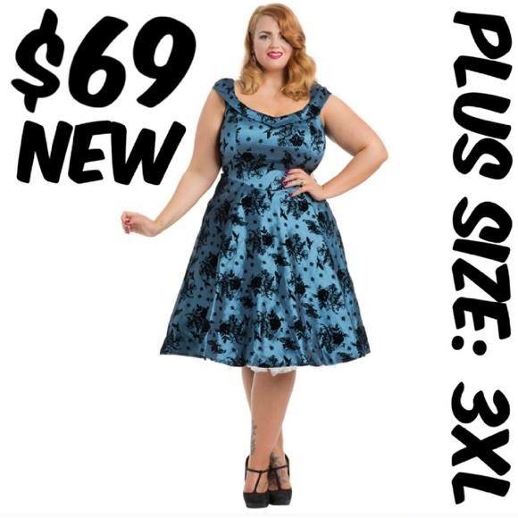 c8445a4419b2a Voodoo Vixen Plus Size Pin Up Velvet Bird Dress